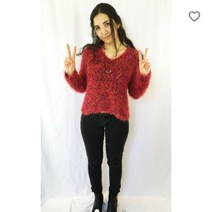 90s babe fuzzy wuzzy sweater pink and black party
